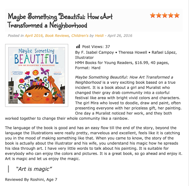 7 year old Roshini reviews Maybe Something Beautiful at Kids Book Buzz